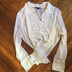 Silk ECI Blouse with Embroidery and Beading